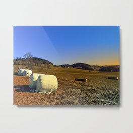 Hay bales and panorama | landscape photography Metal Print