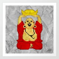 8bit Art Prints featuring Buddha (8bit) by Grizzly Logo