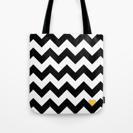 Heart & Chevron - Black/Yellow Tote Bag