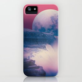 red sky with moon, Iceland iPhone Case