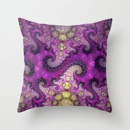 Dragon spirals and orbs in pink, purple and yellow Throw Pillow