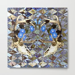 Diamond Pattern Deer Skull And Morning Glory Metal Print