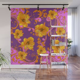 TROPICAL YELLOW & GOLD AMARYLLIS FLOWERS PATTERN Wall Mural