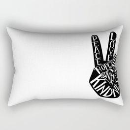 Peace Sign Hand Rectangular Pillow