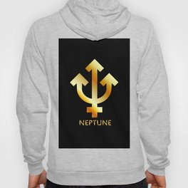 Zodiac and astrology symbol of the planet Neptune in gold colors- astronomical icon Hoody