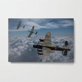 Lancaster Bomber and Spitfires Metal Print