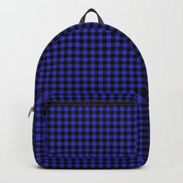 Mini Cornflower Blue and Black Rustic Cowboy Cabin Buffalo Check Backpack