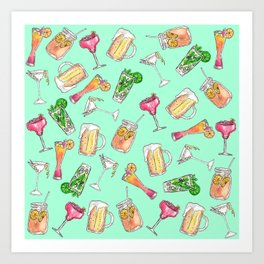 Fun Summer Watercolor Painted Mixed Drinks Pattern Art Print