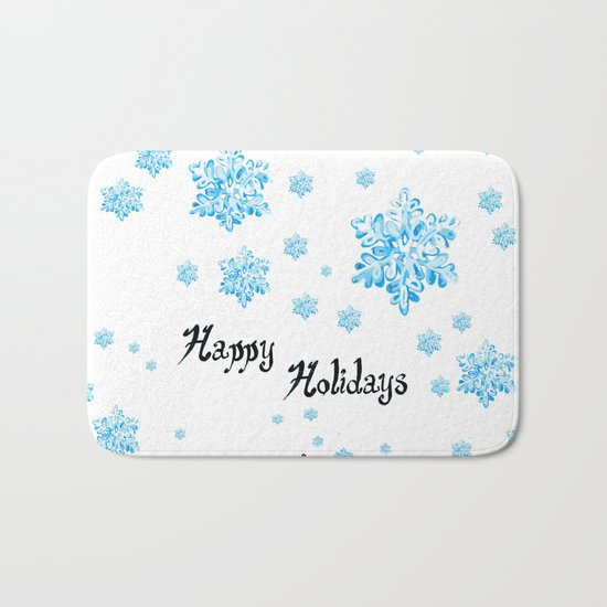 Snow Falling at Christmas Holiday in Blue Ice Bath Mat