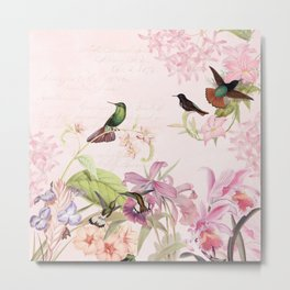 Vintage & Shabby Chic - Blush Tropical Hummingbird Flower Garden Metal Print