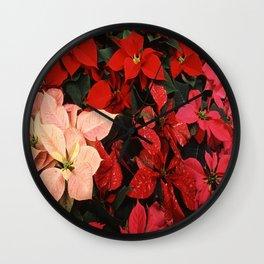 Poinsettia Christmas Holiday Flowers Wall Clock