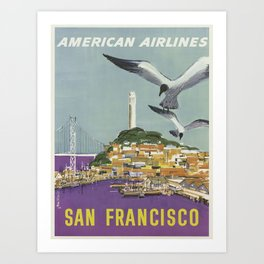 San Francisco, American Airlines - Vintage Travel Poster Art Print