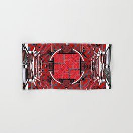 number 177 black white red pattern Hand & Bath Towel