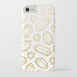 Gold and White Gemstone Pattern iPhone Case