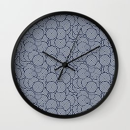 Dark Blue Concentric Octagons Wall Clock