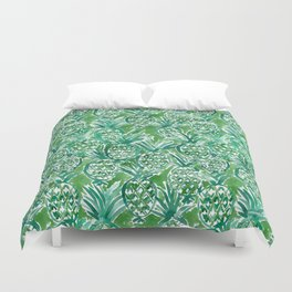 DEM PINEAPPLES Green Tropical Duvet Cover