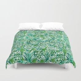DEM PINEAPPLES Green Tropical Duvet Cover