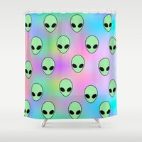 tumblr Shower Curtains featuring Aliens Tumblr by Hipster's Wonderland