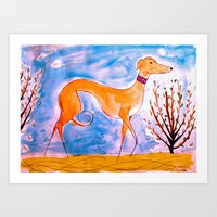 greyhound Art Prints featuring Greyhound by Caballos of Colour