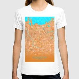 Jakarta, Indonesia, Gold, Blue, City, Map T-shirt