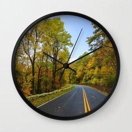 Autumn Road Trip Wall Clock