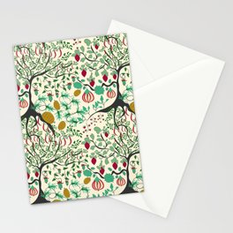 Fairy seamless pattern garden with plants, tree and flowers Stationery Cards