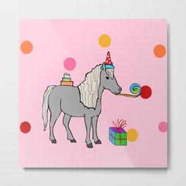 Mini horse party Metal Print