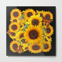 SUNFLOWER & MONARCHS IN BLACK ART Metal Print