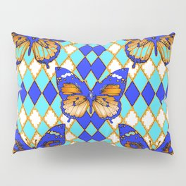ARGYLE ABSTRACTED  BROWN SPICE  MONARCHS BUTTERFLY & BLUE-WHITE Pillow Sham
