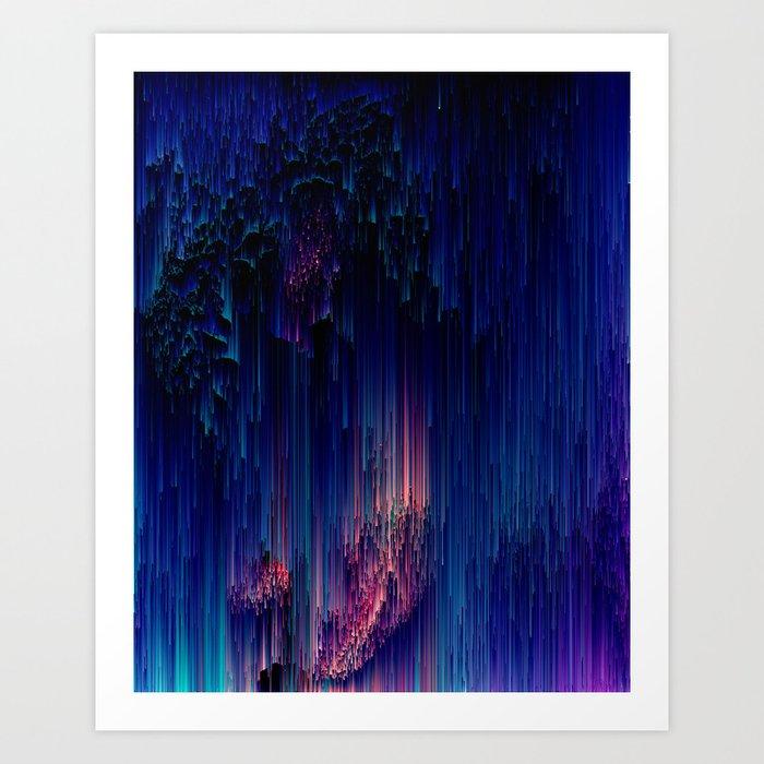 Glitch of Fantasy - Abstract Pixel Art Art Print