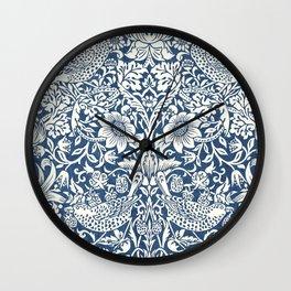 William Morris Navy Blue Botanical Pattern 4 Wall Clock
