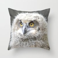 swedish Throw Pillows featuring Swedish owl by ilsephilips
