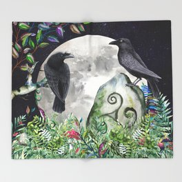Raven Moon Magick Throw Blanket