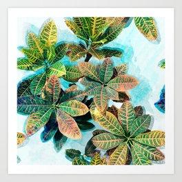Botanic Leaves Print In Fresh Colors Art Print