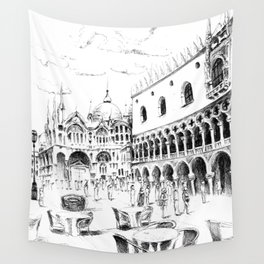 Sketch of San Marco Square in Venice Wall Tapestry