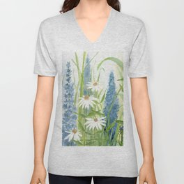 Watercolor Botanical Garden Flower Wildflower Blue Flower Garden Unisex V-Neck