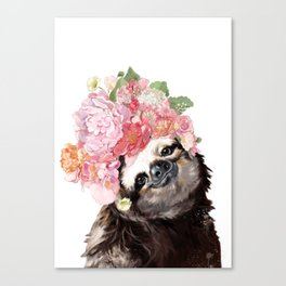 Sloth with Flowers Crown in White Canvas Print