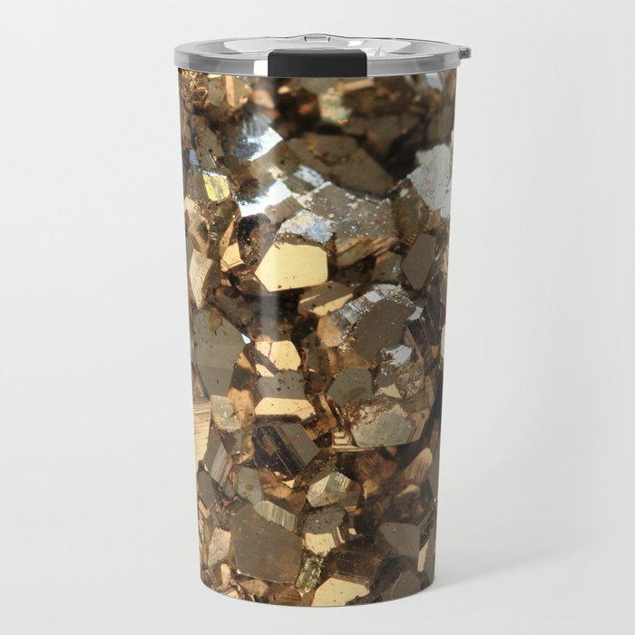 Golden Pyrite Mineral Travel Mug