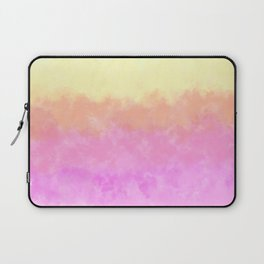 Abstract pink coral sunshine yellow watercolor brushstrokes Laptop Sleeve