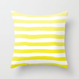 Sun Yellow Handdrawn horizontal Beach Stripes - Mix and Match with Simplicity of Life Throw Pillow