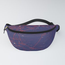 Wolfsburg, Germany, Blue, White, City, Map Fanny Pack