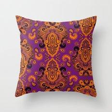 Golden Paisley Purple Throw Pillow