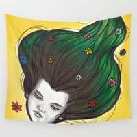 flora Wall Tapestries featuring Flora by Melanie Arias