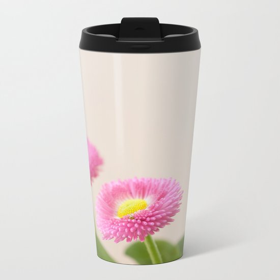 Pink Daisies in the Spring #1 #decor #art #society6 Metal Travel Mug