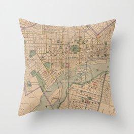 Vintage Map of Richmond Virginia (1876) Throw Pillow