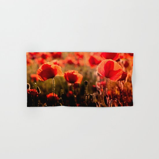 Fiery poppy field - Red Poppies Flowers Hand & Bath Towel