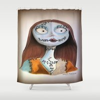 nightmare before christmas Shower Curtains featuring Sally from nightmare before Christmas by Melissa Rodriguez