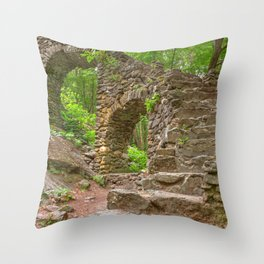 Forest Castle Ruins Throw Pillow