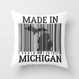MADE IN MICHIGAN Barcode Throw Pillow