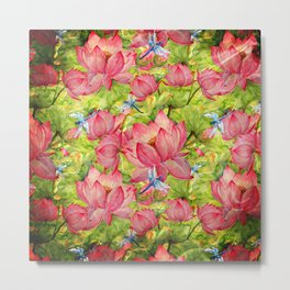Floral Lotus Flowers Pattern with Dragonfly Metal Print